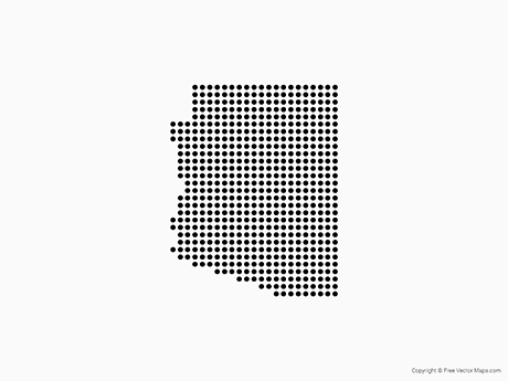 Free Vector Map of Arizona - Dots