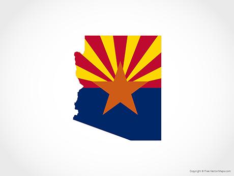 Map of Arizona - Flag