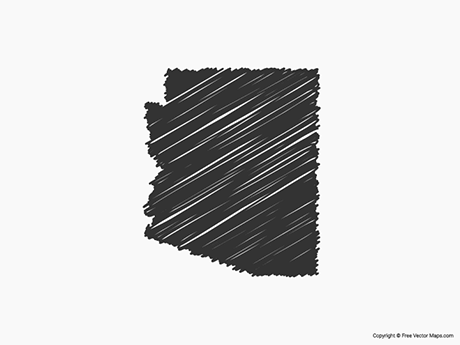 Free Vector Map of Arizona - Sketch