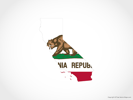Free Vector Map of California - Flag