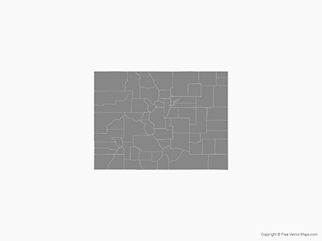 Free Vector Map of Colorado with Counties - Single Color