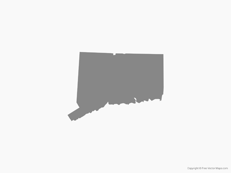 Free Vector Map of Connecticut - Single Color