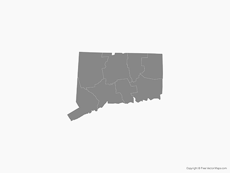 Map of Connecticut with Counties - Single Color