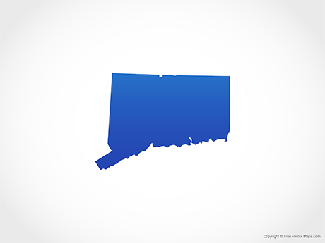 Free Vector Map of Connecticut - Blue