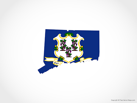 Free Vector Map of Connecticut - Flag