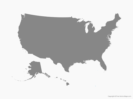 Map of United States of America - Single Color