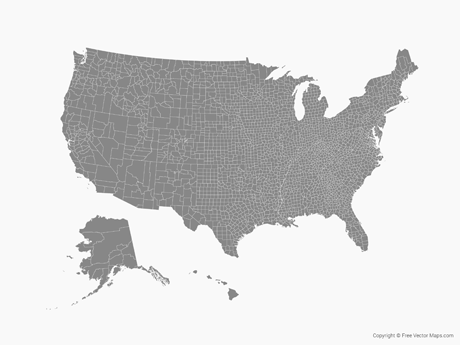 Vector Map Of United States Of America With Counties Free Vector - United states counties map