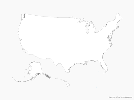 Free Vector Map of United States of America - Outline