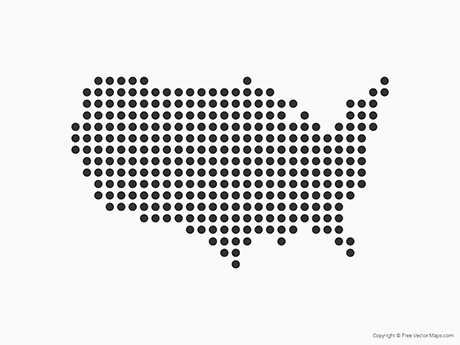 Free Vector Map of United States of America - Dots