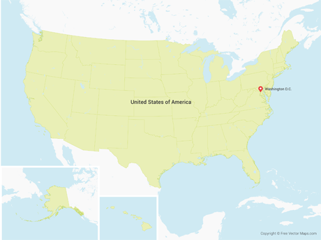 Free Vector Map of United States of America with States