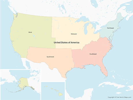 Free Vector Map of United States of America with Regions - Multicolor