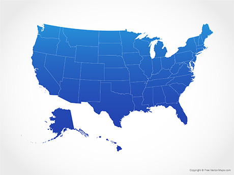 Free Vector Map of United States of America with States - Blue