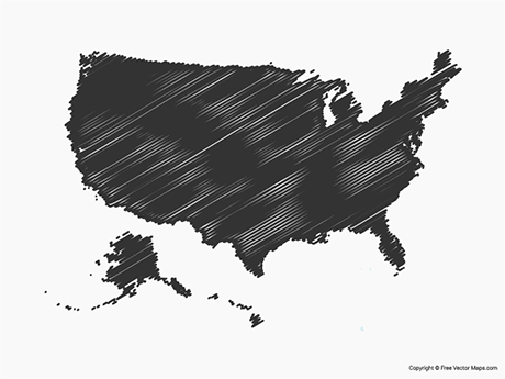 Free Vector Map of United States of America - Sketch