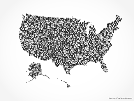 Free Vector Map of United States of America - People