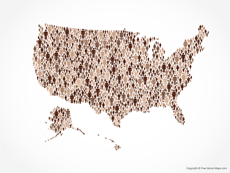Free Vector Map of United States of America - Diverse People
