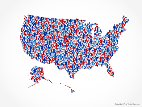 Free Vector Map of United States of America - Patriotic People