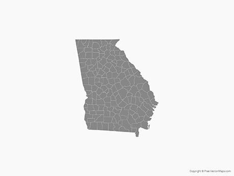 Free Vector Map Of Georgia With Counties Single Color