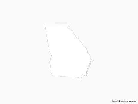 Outline Of Georgia Map.Vector Maps Of Georgia Free Vector Maps