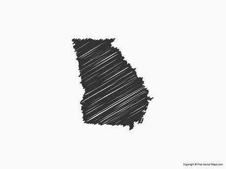 Free Vector Map of Georgia - Sketch