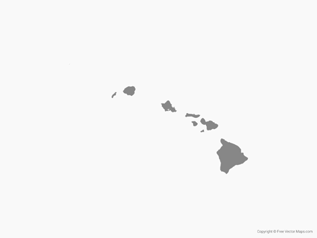 Map of Hawaii - Single Color