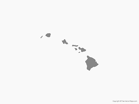 Map of Hawaii with Counties - Single Color