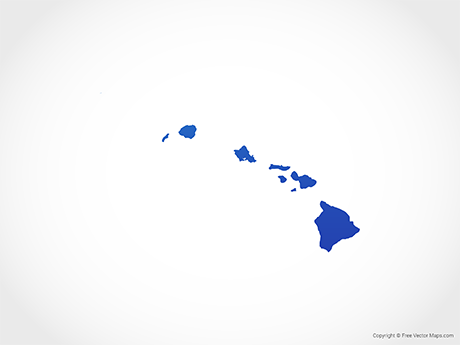 Free Vector Map of Hawaii - Blue