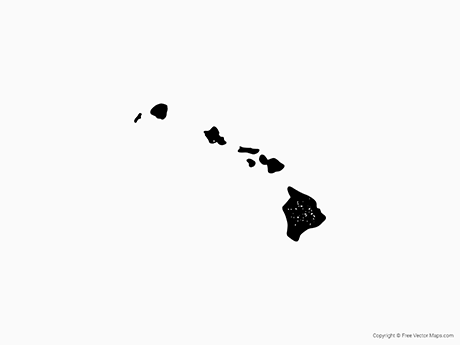 Free Vector Map of Hawaii - Stamp