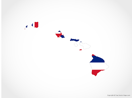 Free Vector Map of Hawaii - Flag