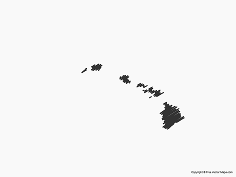 Free Vector Map of Hawaii - Sketch