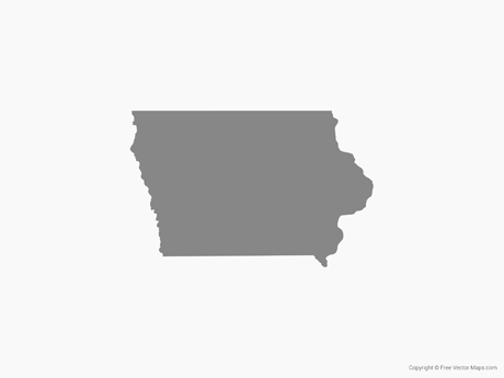 Free Vector Map of Iowa - Single Color