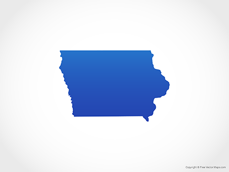 Free Vector Map of Iowa - Blue