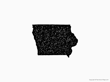 Free Vector Map of Iowa - Stamp