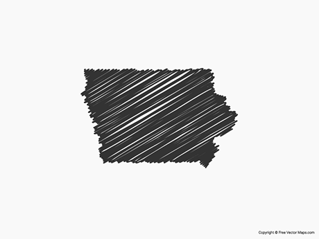 Free Vector Map of Iowa - Sketch