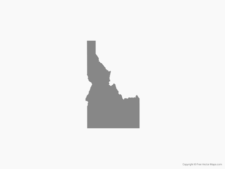 Free Vector Map of Idaho - Single Color