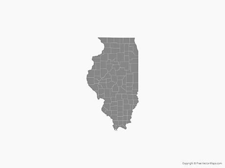 Free Vector Map of Illinois with Counties - Single Color
