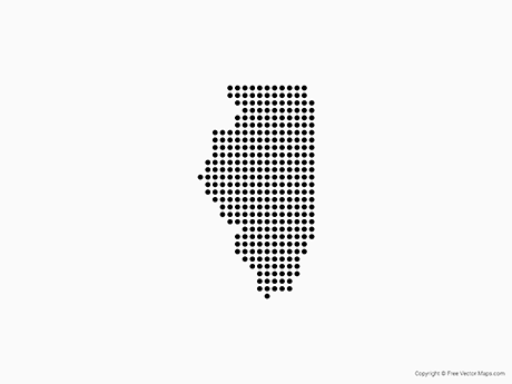 Free Vector Map of Illinois - Dots