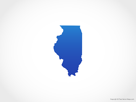 Free Vector Map of Illinois - Blue