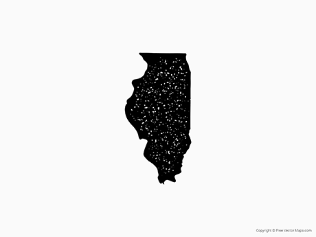 Free Vector Map of Illinois - Stamp