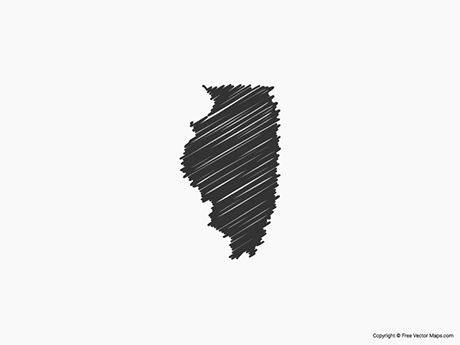 Free Vector Map of Illinois - Sketch