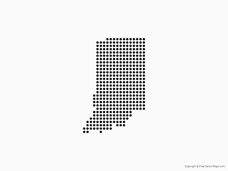 Free Vector Map of Indiana - Dots