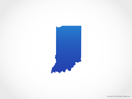 Free Vector Map of Indiana - Blue
