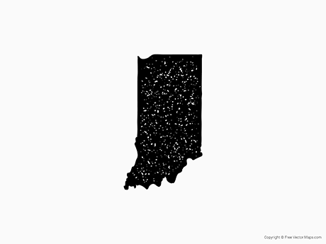 Free Vector Map of Indiana - Stamp