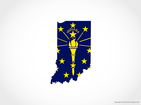 Free Vector Map of Indiana - Flag