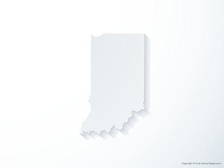 Free Vector Map of Indiana - 3D