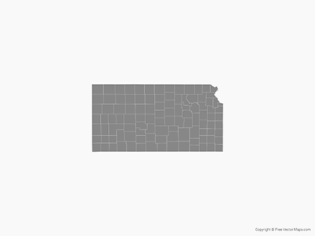 Free Vector Map of Kansas with Counties - Single Color