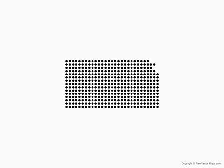 Map of Kansas - Dots