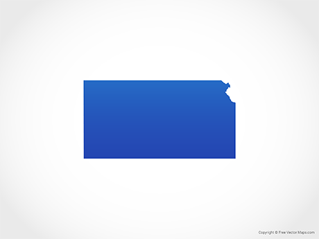 Free Vector Map of Kansas - Blue