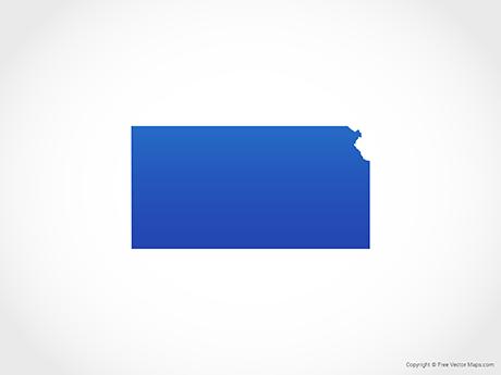 Map of Kansas - Blue