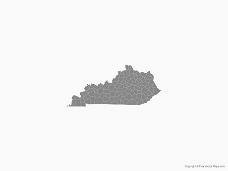 Free Vector Map of Kentucky with Counties - Single Color