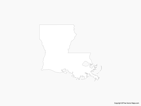 Free Vector Map of Louisiana - Outline